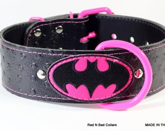 "BatGirl Leather Dog Collar - BatGirl Collar - 2"" BatGirl Dog Collar -  BatGirl Dog Collar - BatGirl Leather Dog Collar - Handcrafted Collar"