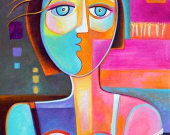 Cubism Original Painting Abstract  Acrylic Art Modern Woman by Marlina Vera Contemporary  Fine artwork Gallery  Modernist peinture