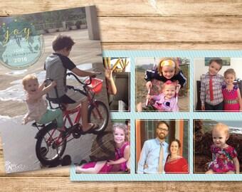 Joy to the World Globe Christmas Photo Card Design - DIY Printable PDF or JPG File - Comes Ready to Print