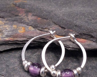Amethyst Earrings, Stone Hoops, Amethyst Hoops, Small Silver Hoop Earrings, .925 Sterling Silver Hammered Hoops. Purple Stone Earrings.