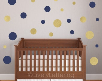 Polka Dots (8, 6, 4, 3 inch set) Circle Wall Decals, Gold Dots, Dot Wall Decal pack, Child Bedroom, Nursery Decor, vinyl lettering LL0651