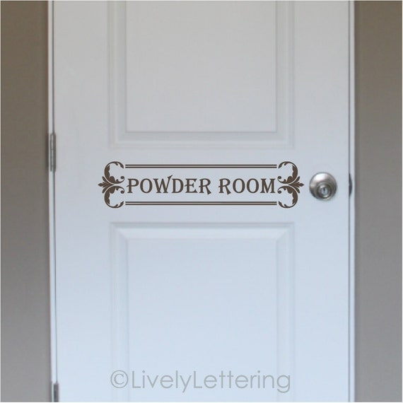 Powder room door decal bathroom wall decal bathroom door for Powder room door size