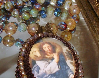 Jesus and The Lamb bead embroidery pendant rosary necklace Sacred Jewelry Pamelia Designs