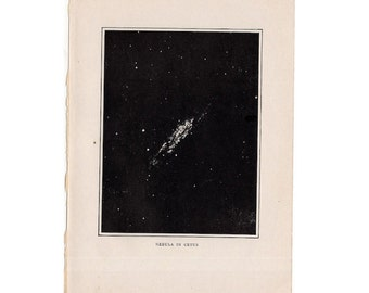 1909 ANTIQUE NEBULA LITHOGRAPH in cetus original antique celestial astronomy print -