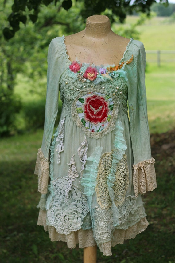 Cottage rose bohemian shabby chic tunic embroidered and