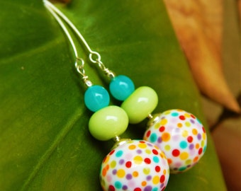 Rainbow Sprinkles Earrings - Artist-Made Lampwork Glass w Czech Glass & Handmade Sterling Silver Ear Wires / Proceeds Aid Kansas Food Bank