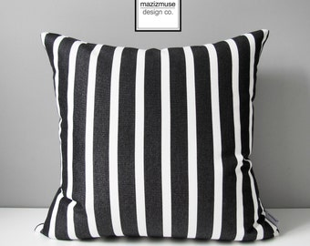 Decorative Black & White Striped Outdoor Pillow Cover, Modern Tuxedo Stripes, Striped Sunbrella Pillow Cover, Cushion Cover Mazizmuse