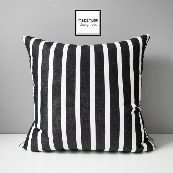 Black And White Stripe Outdoor Throw Pillows : Decorative Black & White Striped Outdoor Pillow Cover Modern