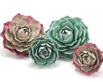 Succulent Cake Topper Wedding Cake Blossoms by lil sculpture- Set of 4