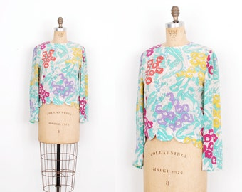 Vintage 1960s Blouse / 60s Bessi Silk Floral Printed Top / Blue Pink Yellow ( S M )