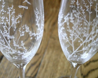 Beautiful Bohemia Crystal Champagne Glasses - Hand Engraved - Pair - Wedding Flutes