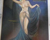 1935 Exotic Bombshell Pin-Up Print GRACE #3217 By Irene Stunning Woman