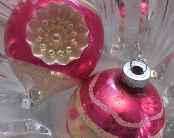 2 SHINY BRITE and Hot Pink Mercury Glass Christmas Ornaments Bulbs