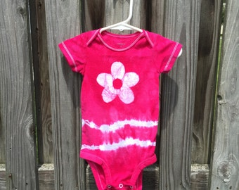 Tie Dye Baby Bodysuit (9 months), Hot Pink Flower Baby Bodysuit, Fuchsia Pink Baby Gift, Pink Baby Gift, Baby Shower Gift, Baby Girl Gift