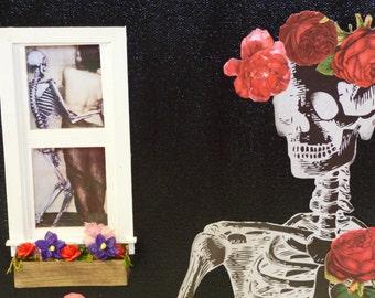 Skeleton Wall Art - Mixed Media Dark Art - Gothic Home Decor - Mixed Media Canvas