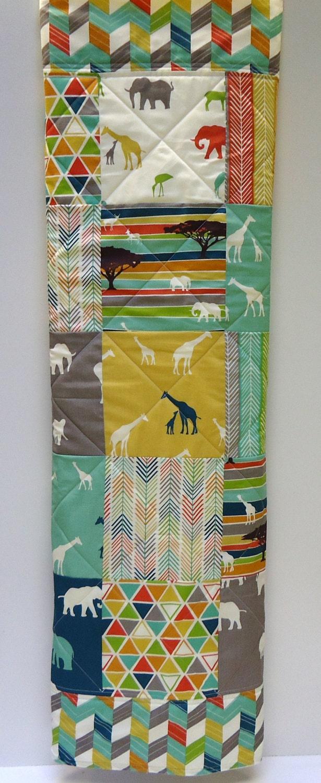 Modern Baby Quilt Organic Birch Fabric Tribal Serengeti