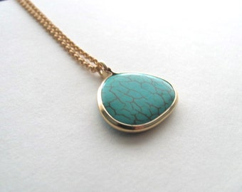 Turquoise tear drop pendant necklace 14k gold plate chain, geometric boho necklace