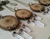 Boho Crystal Point & Wood Neacklace