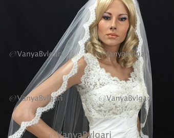 Cathedral Wedding veil with Alencon lace edge design, bridal lace veil with gathered top in full width in classic style