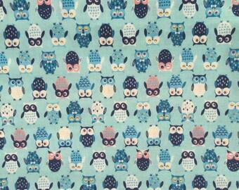 Japanese Cotton Print Fabric, Cosmo Textile, 1 Yard, Kawaii Nordic Style Owl Design, Light Blue Bird Fabric, One Yard Fabric, F2