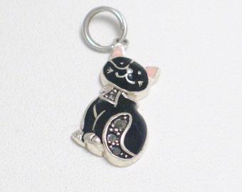 925 Sterling silver not plated or filled black pink enamel marcasite gem cat kitten kitty bracelet charm / necklace pendant