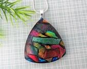 Triangular Dichroic Glass Pendant - Vibrant Colorful Fused Pendant - Fused Dichroic Glass Jewelry - 32-16