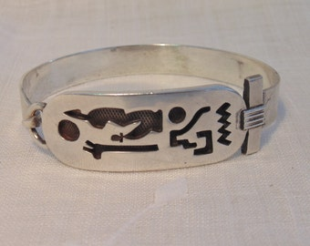 Heavy Egyptian Hieroglyphics Sterling Bracelet Vintage Sterling Bracelet Egyptian Bracelet Sterling Egyptian Jewelry