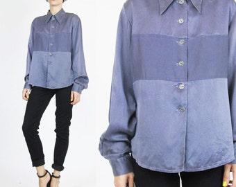 Purple Silk Shirt Vintage 90s Womens Silk Blouse Pointy Collar Shirt Button Up Long Sleeve Blouse Lavender Minimalist Striped Silk Shirt (M)