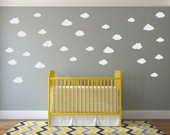 Puffy Cloud Decal Set - (Set of 28) - Cloud Wall Sticker - Children Wall Decal - Nursery Decor