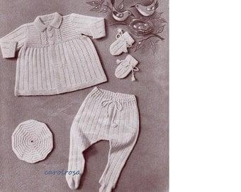 KNITTING PATTERN - Vintage Design Pram Set for Baby 9 to 18 months PDF immediate download