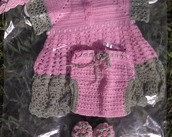 Crochet Baby Dress, Pink, Handmade