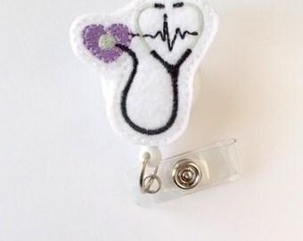 Stethoscope EKG Purple - Retractable Badge Reel - Name Badge Holder - Nurse Badge Holder - Nursing Badge - Nurse Graduation - Badge Reels