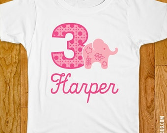 Pink Elephant Party Iron-On Shirt Design - Choose child or onesie size