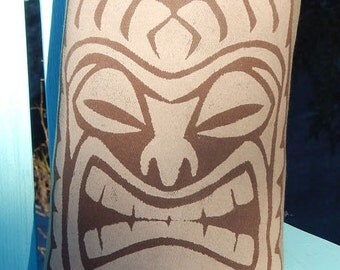 "Outdoor pillow TIKI hand painted 21""x7"" Polynesian Hawaiian coastal tropical beach ocean saltwater seashore beach Crabby Chris Original"