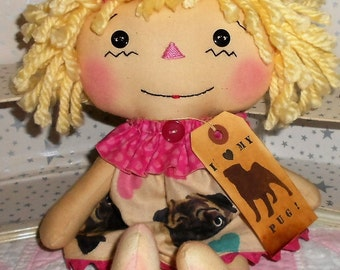 PuG LoVeR AnNiE Primitive Handmade Raggedy Ann Annie Doll Pug Dog fabric dress with tag Hafair