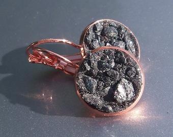 Spectral Hematite Crater Earrings Lever Back Copper Earrings