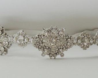 Helen Wedding bridal crystal headpiece headband rhodium plated  vintage inspired