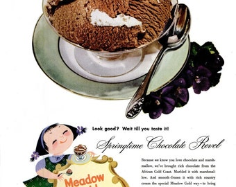1953 Meadow Gold Ice Cream Springtime Chocolate Revel & Cheer Detergent Advertisement Ad Print Poster Wall Art Home Decor