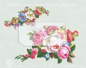 Handpainted Gouache Wedding Bouquet Floral Clipart Elements PNG Antique Wallpaper Roses Instant Download