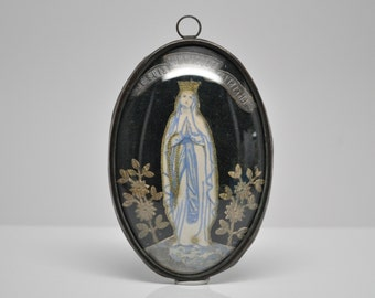 Antique Ex-Voto Reliquary Wall Plaque Virgin Mary French Made in France