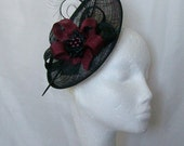Black and Burgundy Wine Upback Saucer Sinamay Loop Curl Feather & Pearl Fascinator Hat- Made to Order - Royal Ascot -Derby