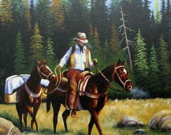 Cowboy ORIGINAL Oil Painting 12X24 mountain man painting, trapper, pack horses, hunter, man horseback, outdoorsman, western, Vickie Wade Art
