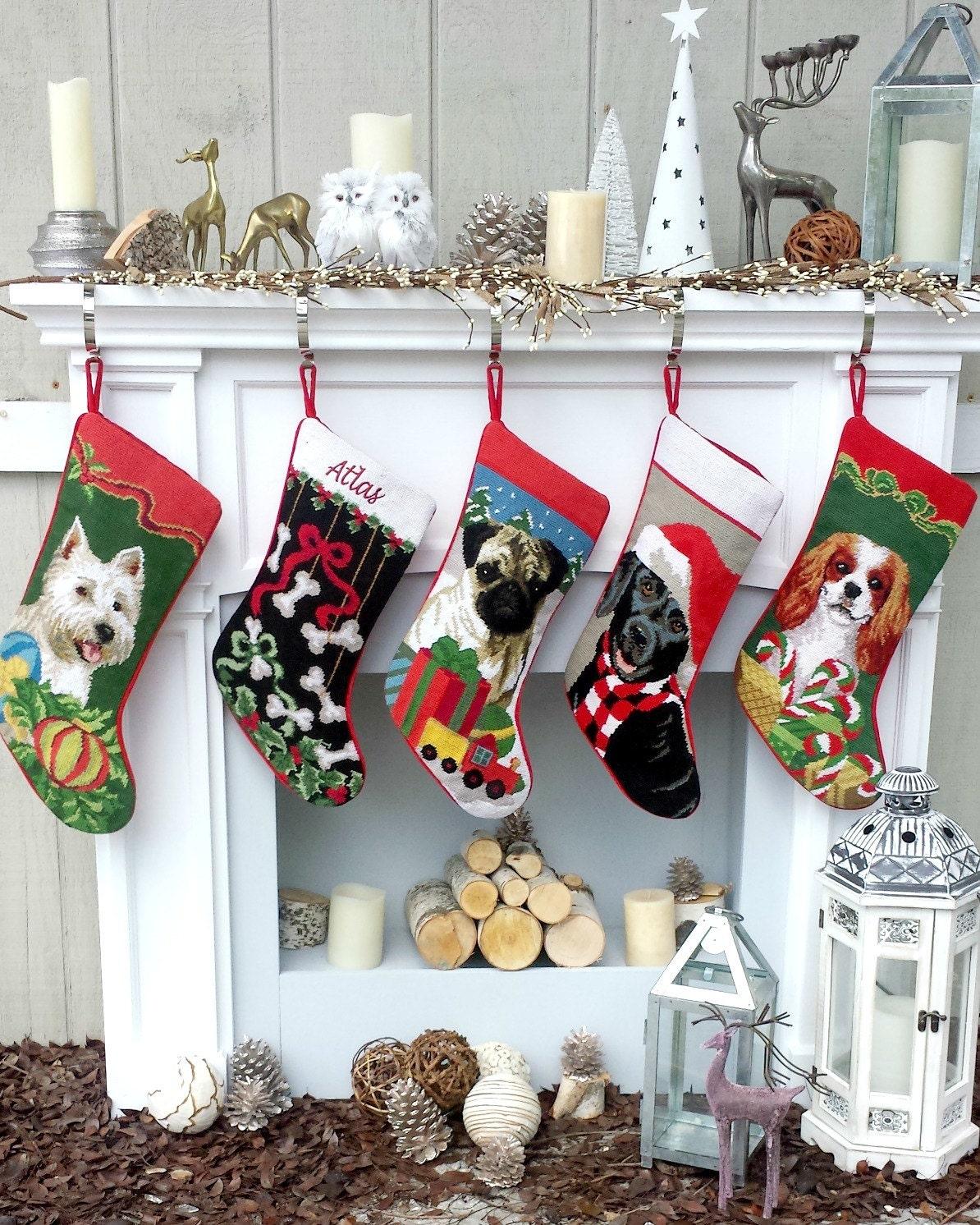 Needlepoint dog christmas stocking personalized pug black for Personalized dog christmas stocking
