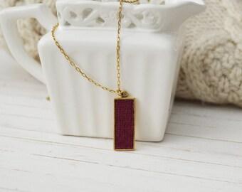 Women's Preppy Dainty Cashmere Charm Necklace - Crimson