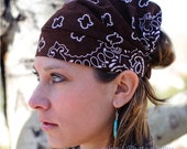 Extra Wide Bandana Hair Scarf Brown Adult Bandanna  (#2003) S M L