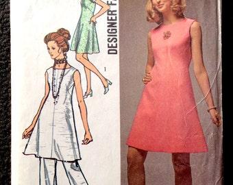 "Vintage 1970 Simplicity 8775 Dress & Pants Pattern ""Designer Fashion"" Series B34"