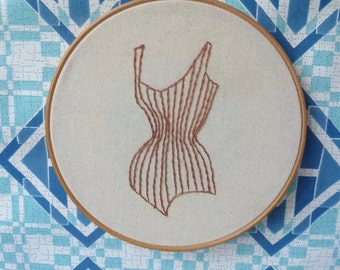 Hand Made 'Stitched Up' Art Series, Ltd Ed, Embroidered Corset Hoop Art, Wall Art, Burlesque Embroidery Art