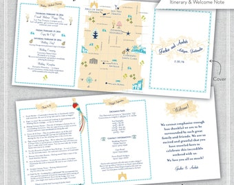 Rustic Custom Wedding Map Infographic and Itinerary, Wedding Invitation, Choose your monogram and Location