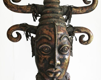 Huge Cast Brass African Portrait Bust - Pastiche of Benin and Ejagham Styles - FREE SHIPPING - Payment Plan Available