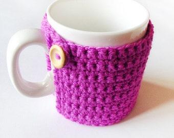 Mug Cozy - Crochet Mug Cosy With Built in Coaster in Magenta